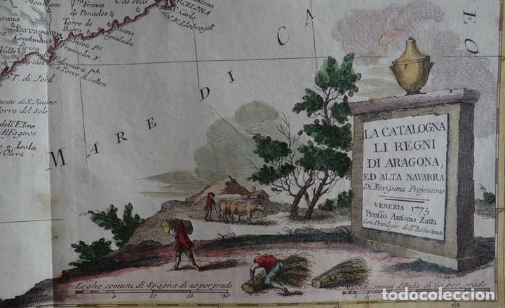Arte: Mapa de Cataluña, Aragón, Navarra... (España)I, 1776. Zatta - Foto 2 - 70365841