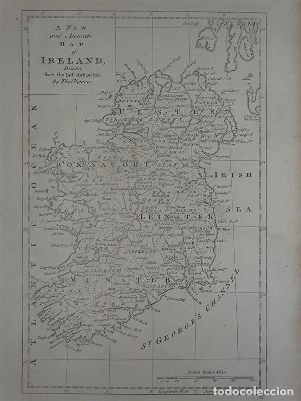 mapa de irlanda, 1790. bowen - Comprar Cartografía Antigua