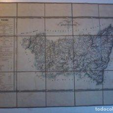 Arte: VOSGES - 1833 -MAPA ENTELADO DEL NOUVEL ATLAS NATIONAL - CARTE DE FRANCE - VOSGOS. Lote 71485263