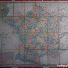 Arte: NOUVELLE CARTE PHYSIQUE ET ROUTIERE DE LA FRANCE - 1872 - MAPA - MAP -ATLAS - A.R.FREMIN - LOGEROT. Lote 71664775