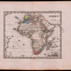 Arte: MAPA DE ÁFRICA DE 1874, DE JUSTUS PERTHES, GRABADO DE COBRE, COLOREADO A MANO, CARTOGRAFÍA, BERGHAUS. Lote 73641691