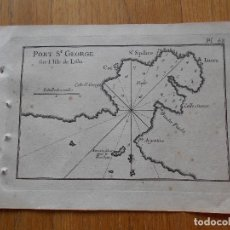 Arte: GRABADO CARTOGRAFIA MARITIMA PORT ST GEORGE , JOSEPH ROUX, 1764 ORIGINAL. Lote 74646799
