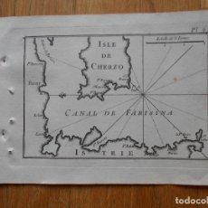 Arte: GRABADO CARTOGRAFIA MARITIMA ISLA DE CHERZO , JOSEPH ROUX, 1764 ORIGINAL. Lote 74647019