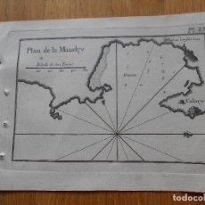 Arte: GRABADO CARTOGRAFIA MARITIMA PLAN DE LA MANDRY , JOSEPH ROUX, 1764 ORIGINAL. Lote 74648963