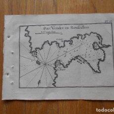 Arte: GRABADO CARTOGRAFIA MARITIMA PORT VENDRE ROUSILLON , JOSEPH ROUX, 1764 ORIGINAL. Lote 74650267