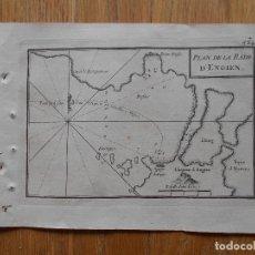 Arte: GRABADO CARTOGRAFIA MARITIMA PLAN DE LA RADE D`ENGIEN, JOSEPH ROUX, 1764 ORIGINAL. Lote 74678751