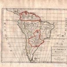 Arte: MAPA DE LA AMERICA MERIDIONAL. ATLAS O COMPENDIO GEOGRAPHICO DEL GLOBO TERESTRE. AÑO 1756. Lote 75519731