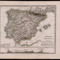Arte: MAPA DE ESPAÑA Y PORTUGAL, DE 1874, JUSTUS PERTHES, GRABADO DE COBRE COLOREADO A MANO, POR BERGHAUS. Lote 75589587