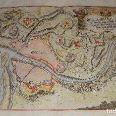 Arte: ANTIGUO GRABADO DE GIRONA. NICOLAS DE FER. FECHADO EN 1694. ILUMINADO A MANO.. Lote 79059393
