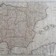 Arte: AÑO 1794 * GRAN MAPA 58 CM X 47 CM * ESPAÑA Y PORTUGAL POR SAMUEL DUNN EN LONDRES. Lote 81179152