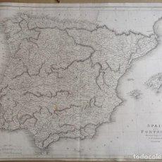 Arte: AÑO 1814 * GRAN MAPA 58 CM X 47 CM ESPAÑA Y PORTUGAL * POR PLAYFAIR´S. Lote 81180276