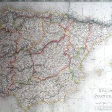 Arte: AÑO 1828 * GRAN MAPA 60 CM X 50 CM * ESPAÑA Y PORTUGAL POR SYDNEY HALL. Lote 81180604