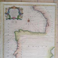 Arte: CIRCA 1745 * BELLO MAPA COSTERO COLOREADO DE ESPAÑA Y PORTUGAL * 50 CM X 40 CM . Lote 82096696