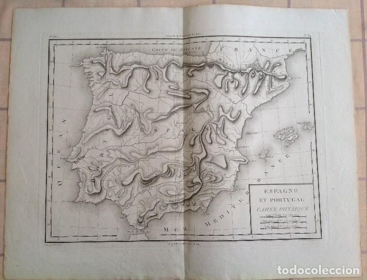 ESPAÑA Y PORTUGAL MAPA FISICO DE RELIEVES * SEGUNDA MITAD S. XVIII * 56 CM X 43 CM (Arte - Cartografía Antigua (hasta S. XIX))