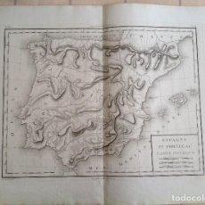 Arte: ESPAÑA Y PORTUGAL MAPA FISICO DE RELIEVES * SEGUNDA MITAD S. XVIII * 56 CM X 43 CM. Lote 82099124