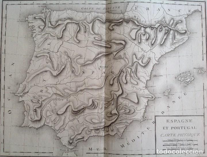 Arte: ESPAÑA Y PORTUGAL MAPA FISICO DE RELIEVES * segunda mitad s. XVIII * 56 cm x 43 cm - Foto 2 - 82099124