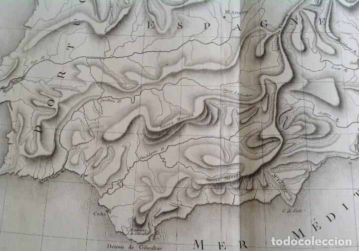 Arte: ESPAÑA Y PORTUGAL MAPA FISICO DE RELIEVES * segunda mitad s. XVIII * 56 cm x 43 cm - Foto 4 - 82099124