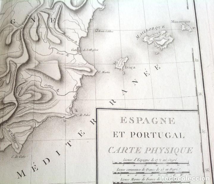 Arte: ESPAÑA Y PORTUGAL MAPA FISICO DE RELIEVES * segunda mitad s. XVIII * 56 cm x 43 cm - Foto 5 - 82099124
