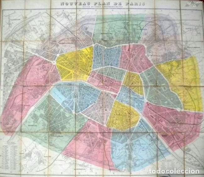 PLANO ANTIGUO PARÍS MAPA DE PARÍS AÑO 1870 CON CERTIF. AUTENTICIDAD. MAPAS ANTIGUOS PARÍS PLANOS (Arte - Cartografía Antigua (hasta S. XIX))