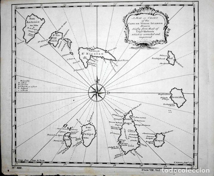 Arte: Mapa antiguo islas de Cabo Verde año 1744 con certif. autentic.. Mapas antiguos Cabo Verde Africa - Foto 5 - 52879090
