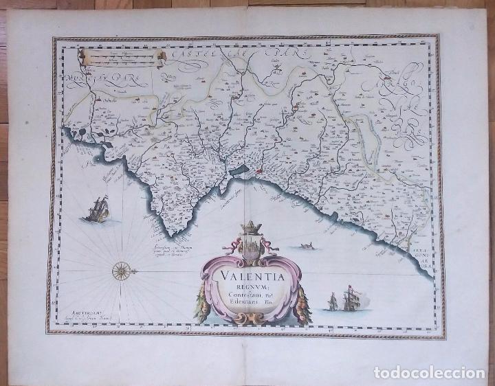 Arte: Mapa antiguo Valencia de Blaeu año 1640 con certificado autentic. Mapas antiguos reino Valencia - Foto 6 - 53959266
