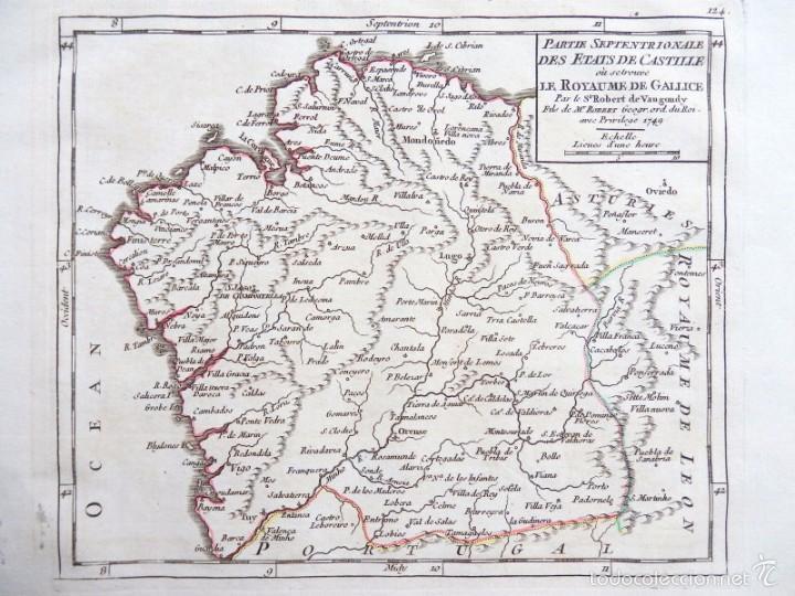 Arte: Mapa antiguo Galicia año 1749 Vaugondy con certificado autenticidad. Mapas antiguos Galicia - Foto 4 - 55115041