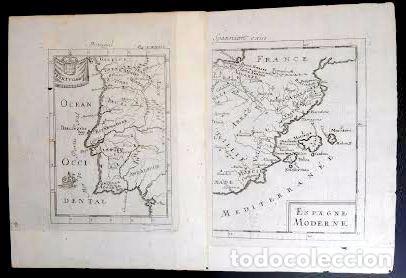MAPA ANTIGUO ESPAÑA AÑO 1719 CON CERTIF. DE AUTENTICIDAD. MAPAS ANTIGUOS ESPAÑA GENERAL (Arte - Cartografía Antigua (hasta S. XIX))
