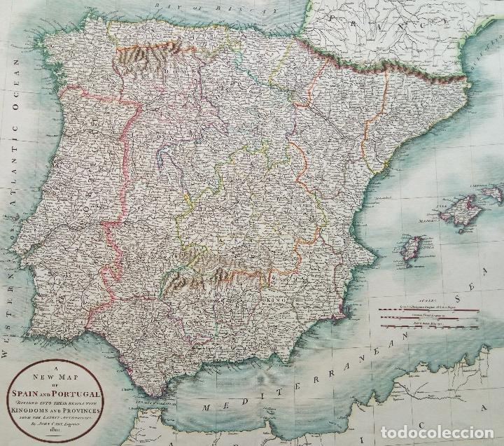 España Y Portugal Mapa.Mapa De Espana Y Portugal John Cary 1801 61 X Sold