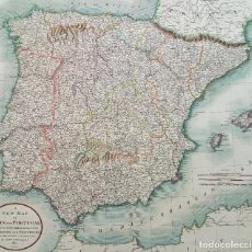 Arte: MAPA DE ESPAÑA Y PORTUGAL, JOHN CARY 1801, 61 X 53 CM. Lote 82449384