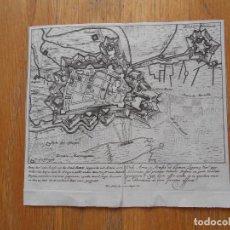 Arte: MAPA DE FORTALEZA AIR SUR LA LYS, FRANCIA, ASEDIO, GUERRA SUCESION ESPAÑOLA PETER SCHENK ORIGINAL. Lote 82938584