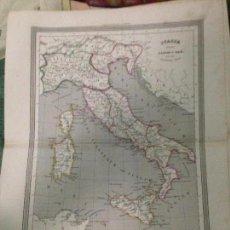 Arte: ANTIGUO MAPA DE ITALIA AÑO 1852 SIGLO XIX(EDITORES GASPAR Y ROIG(34X26CM). Lote 83538988