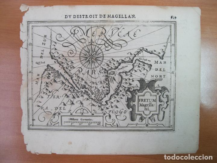 Arte: Mapa del estrecho de Magallanes (América del sur), 1608. Mercator/Jansonius/Hondius - Foto 2 - 84327576