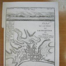 Arte: MAPA Y VISTA DE LA CIUDAD DE CONCEPCIÓN (CHILE, AMÉRICA DEL SUR), 1714. BELLIN. Lote 84327864