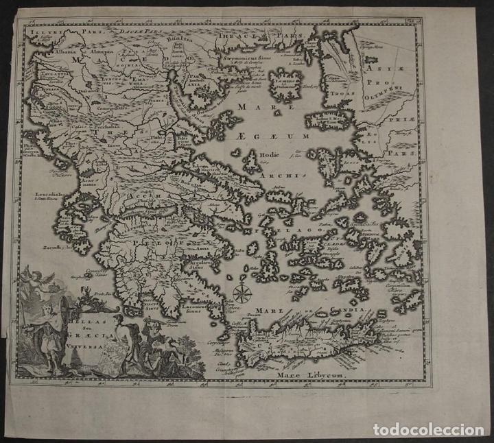MAPA DE LA ANTIGUA GRECIA Y CRETA (EUROPA), 1697. PHILIPP CLÜVER (Arte - Cartografía Antigua (hasta S. XIX))