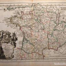 Arte: MAPA DE FRANCIA Y SUS DIVISIONES ADMINISTRATIVAS, 1756. LE ROUGE. Lote 84599840