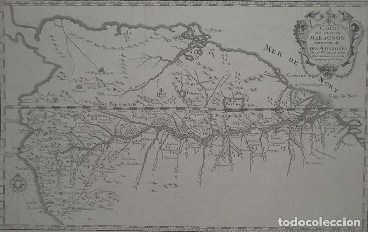 Arte: Mapa del curso del río Amazonas o Marañon (Brasil-Perú, América del sur), 1781. Samuel Fritz - Foto 2 - 84828620