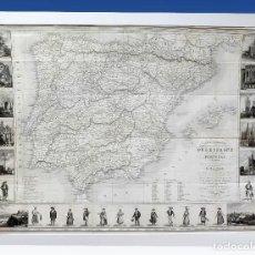 Arte: 1841 MAPA DE ESPAÑA CARTE ITINERAIRE PHYSIQUE POLITIQUE ET ROUTIRE D'ESPAGNE ET PORTUGAL. Lote 85018132
