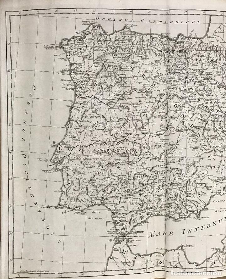 Arte: Gran mapa de España y Portugal antiguos, 1768. Thomas Kitchin/Blair - Foto 2 - 85366572