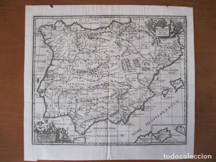 MAPA DE ESPAÑA Y PORTUGAL ANTIGUOS, 1729. CLÜVER (Arte - Cartografía Antigua (hasta S. XIX))