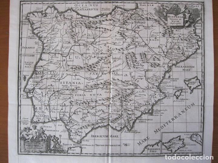 Arte: Mapa de España y Portugal antiguos, 1729. Clüver - Foto 2 - 86118636