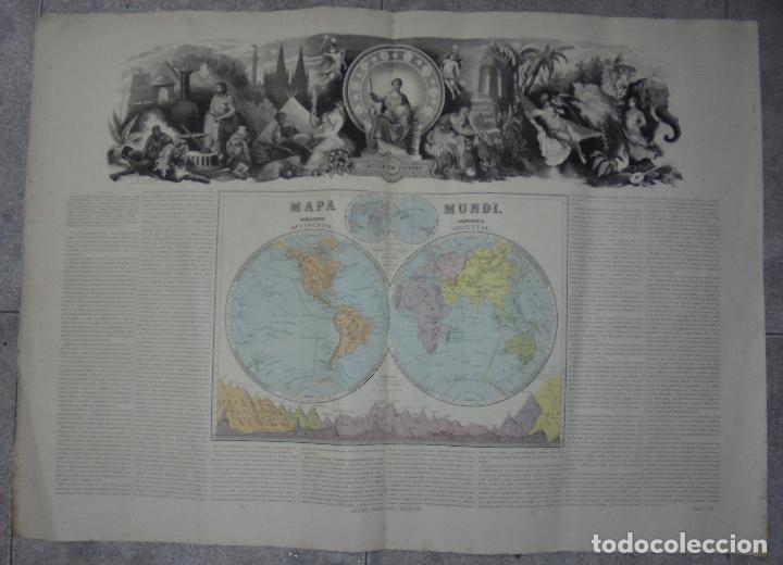 MAPA MUNDI. GRABADOS. 1877. ESCALA 116.000.000. ASTORT HERMANOS, EDITORES. 86 X 61,4 CM. VER FOTOS. (Arte - Cartografía Antigua (hasta S. XIX))