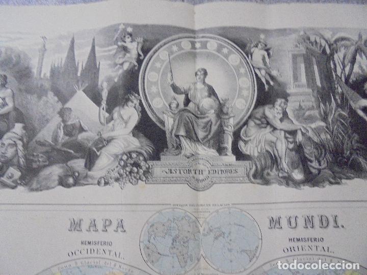 Arte: MAPA MUNDI. GRABADOS. 1877. ESCALA 116.000.000. ASTORT HERMANOS, EDITORES. 86 X 61,4 CM. VER FOTOS. - Foto 8 - 86246832