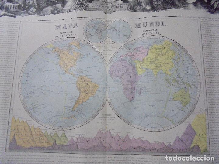 Arte: MAPA MUNDI. GRABADOS. 1877. ESCALA 116.000.000. ASTORT HERMANOS, EDITORES. 86 X 61,4 CM. VER FOTOS. - Foto 11 - 86246832