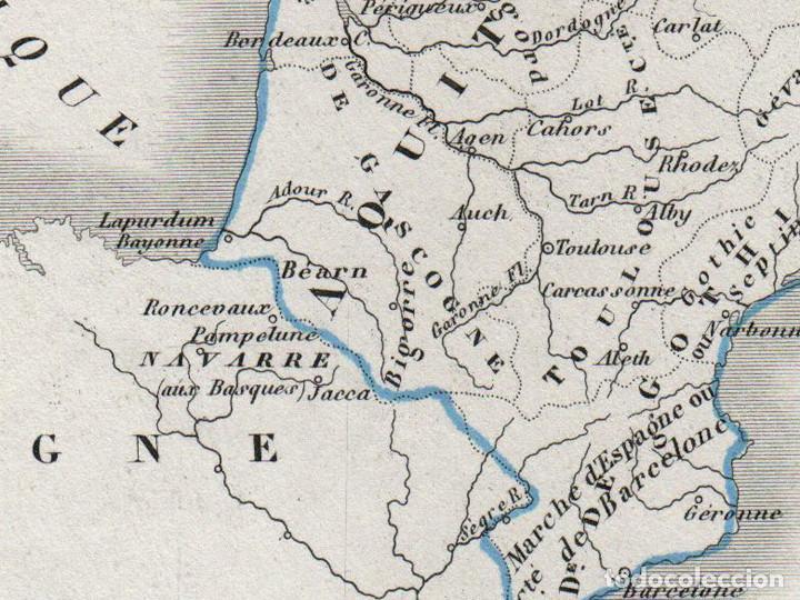 Mapa Del Imperio Carolingio Tratado De Verdún Dussieux Grabado Al Acero Coloreado A Mano 1852
