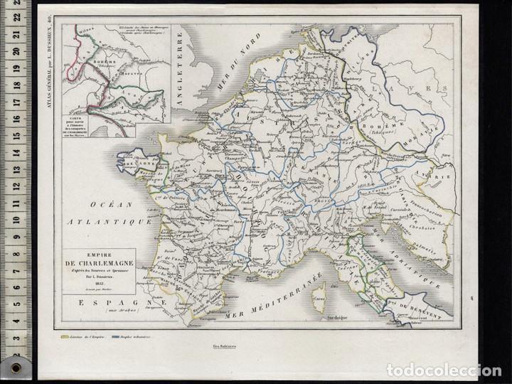 Mapa Del Imperio De Carlomagno Por Dussieux Grabado Al Acero Coloreado A Mano 1852 Cartografía