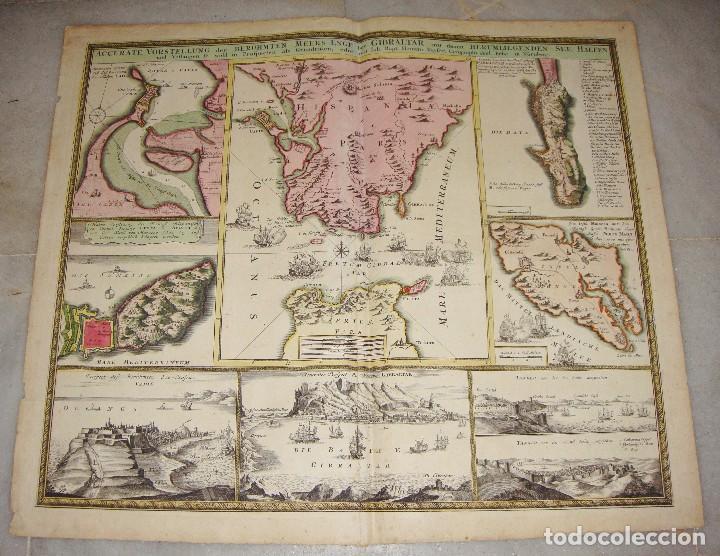 MAPA GRABADO DE GIBRALTAR CADIZ TANGER CEUTA. 1720. HOMANN. (Arte - Cartografía Antigua (hasta S. XIX))