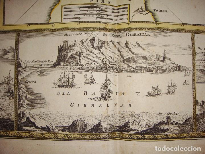 Arte: Mapa Grabado de GIBRALTAR CADIZ TANGER CEUTA. 1720. Homann. - Foto 2 - 86957068