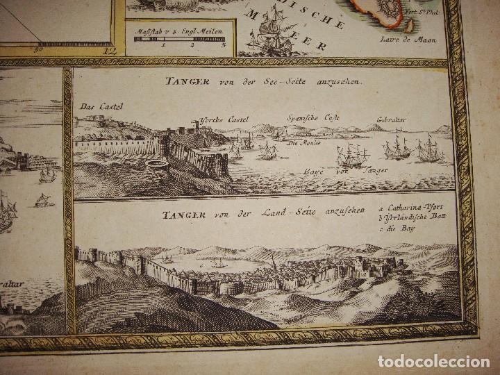 Arte: Mapa Grabado de GIBRALTAR CADIZ TANGER CEUTA. 1720. Homann. - Foto 3 - 86957068
