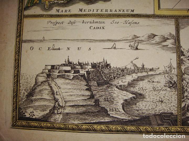Arte: Mapa Grabado de GIBRALTAR CADIZ TANGER CEUTA. 1720. Homann. - Foto 4 - 86957068