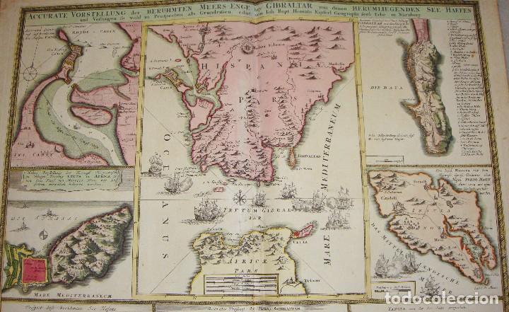 Arte: Mapa Grabado de GIBRALTAR CADIZ TANGER CEUTA. 1720. Homann. - Foto 5 - 86957068